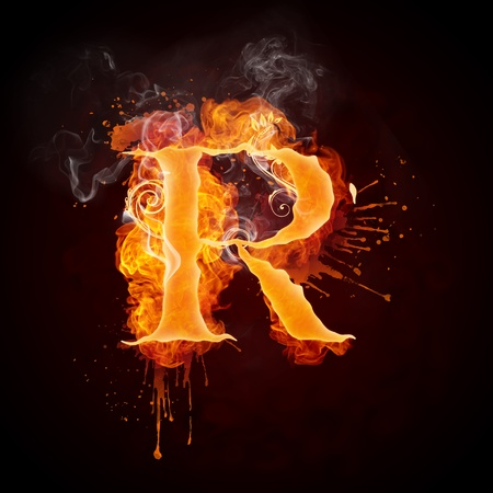 fiery: Fire Swirl Letter R Stock Photo