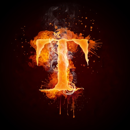 fiery: Fire Swirl Letter T Stock Photo