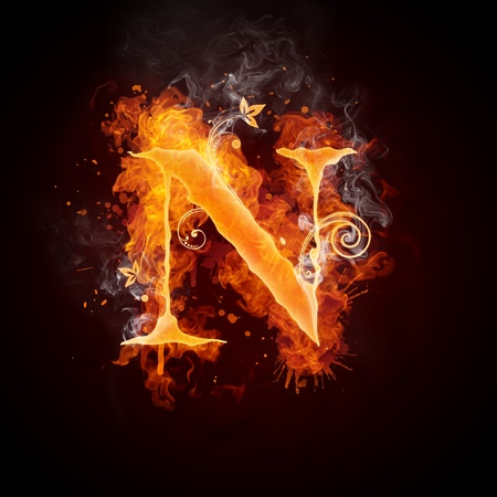 fiery: Fire Swirl Letter N Stock Photo