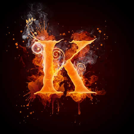 burning: Fire Swirl Letter K Stock Photo