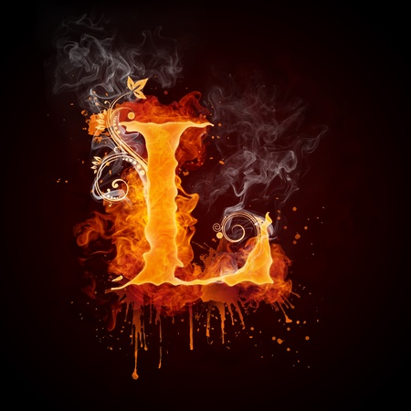 Fire Swirl Letter L Stock Photo