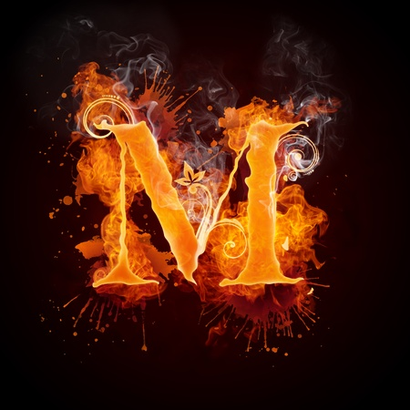 fiery: Fire Swirl Letter M Stock Photo