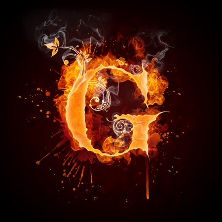 burning: Fire Swirl Letter G Stock Photo
