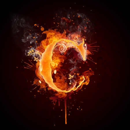 burning: Fire Swirl Letter C