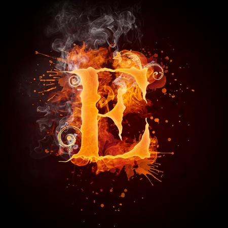 Fire Swirl Letter E Stock Photo - 9329731