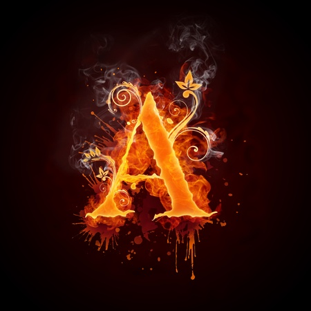 burning: Fire Swirl Letter A Stock Photo