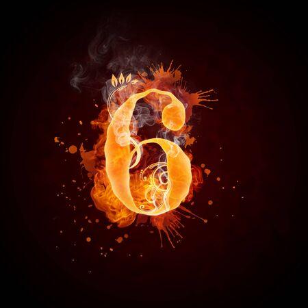 burning: Fire Swirl Number 6 Stock Photo