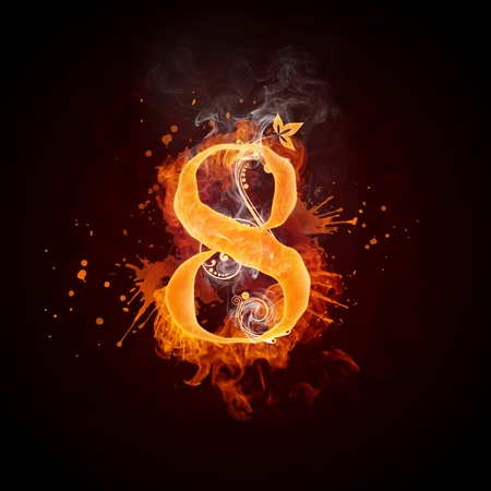 numbers abstract: Fire Swirl Number 8 Stock Photo