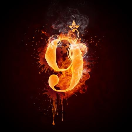 Fire Swirl Number 9 Stock Photo - 9337222
