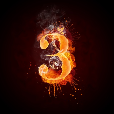 Fire Swirl Letter 3 Stock Photo