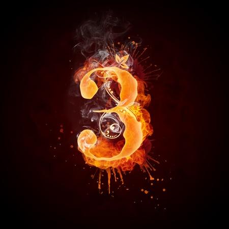 Lettre de Swirl 3 de feu. Banque d'images - 9337221