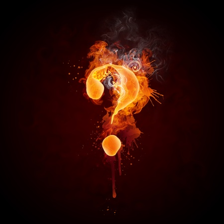 burning alphabet: Fire Swirl Question Mark