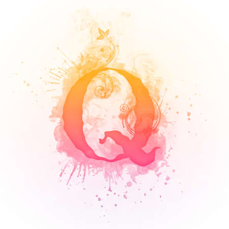 flame letters: Sunny Swirl Letter Q