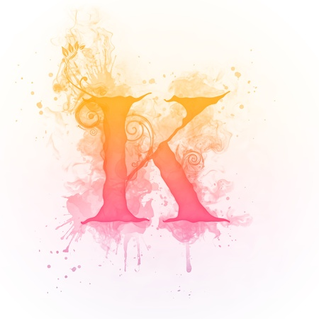 flame letters: Sunny Swirl Letter K