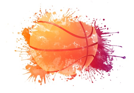 grunge background: Basketball ball Stock Photo