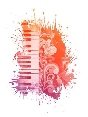 수채화 피아노 스톡 콘텐츠