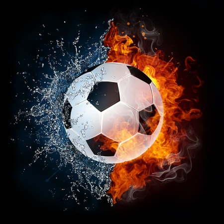 fire water: Soccer Ball Stock Photo