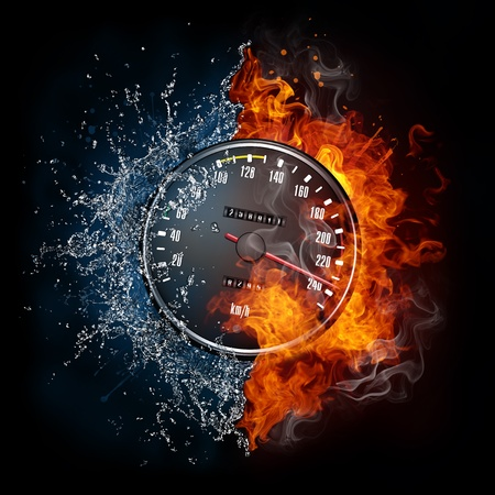 red sports car: Speedometer