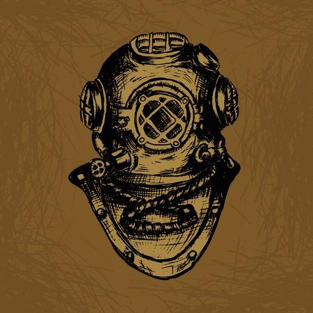 Oude Diver Vector Illustratie