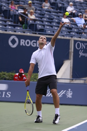 mikhail: TORONTO: AUGUST 09. Mikhail Youzhny plays against Gilles Simon in the Rogers Cup 2010 on August 09, 2010 in Toronto, Canada.