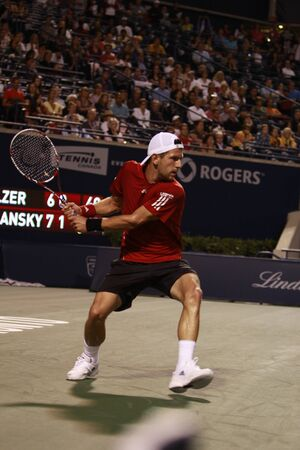 melzer: TORONTO: AUGUST 09. Jurgen Melzer plays against Peter Polansky in the Rogers Cup 2010 on August 09, 2010 in Toronto, Canada. Editorial