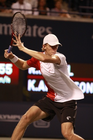 forehand: TORONTO: AUGUST 12. Kevin Anderson plays against Rafael Nadal in the Rogers Cup 2010 on August 12, 2010 in Toronto, Canada.