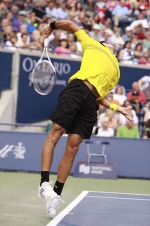 TORONTO: AUGUST 14. Novak Djokovic plays against Roger Federer   in the Rogers Cup 2010 on August 14, 2010 in Toronto, Canada.