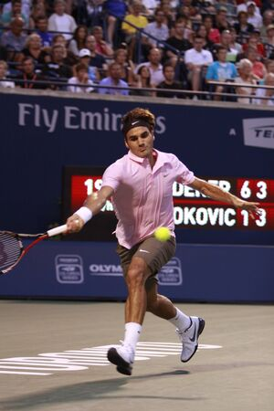 TORONTO: AUGUST 14. Roger Federer plays against Novak Djokovic  in the Rogers Cup 2010 on August 14, 2010 in Toronto, Canada.