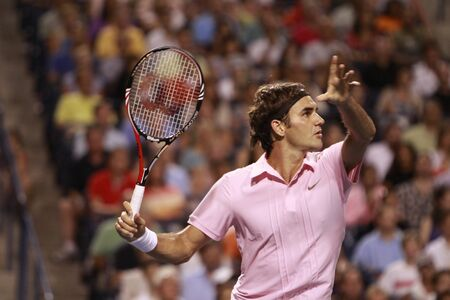 TORONTO: AUGUST 14. Roger Federer plays against Novak Djokovic  in the Rogers Cup 2010 on August 14, 2010 in Toronto, Canada. Editorial