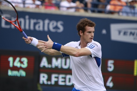 andy: TORONTO: AUGUST 15. Andy Murray plays against Roger Federer in the Rogers Cup 2010 finals on August 15, 2010 in Toronto, Canada. Editorial