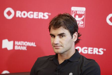 TORONTO: AUGUST 15.Roger Federer on the press conference after the tournament with Andy Murray  in the Rogers Cup 2010 finals on August 15, 2010 in Toronto, Canada.