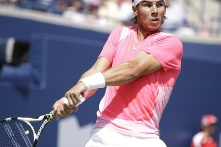 nadal: TORONTO: AUGUST 13. Rafael Nadal plays against Philipp Kohlschreiber  in the Rogers Cup 2010 on August 13, 2010 in Toronto, Canada.