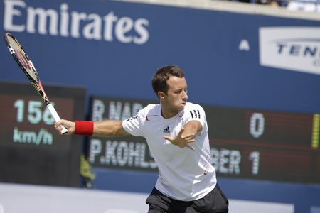 TORONTO: AUGUST 13. Philipp Kohlschreiber plays against Rafael Nadal   in the Rogers Cup 2010 on August 13, 2010 in Toronto, Canada. Stock Photo - 10208169
