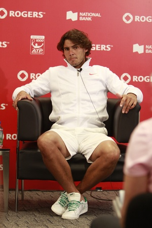 forehand: TORONTO: AUGUST 13. Rafael Nadal gives an interview in press conference after he won a tournament with Philipp Kohlschreiber in the Rogers Cup 2010 on August 13, 2010 in Toronto, Canada.