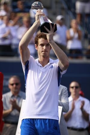 forehand: TORONTO: AUGUST 15. Andy Murray greets his fans after he won a tournament with Roger Federer in the Rogers Cup 2010 finals on August 15, 2010 in Toronto, Canada.