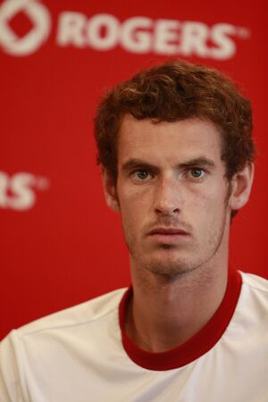 andy: TORONTO: AUGUST 15. Andy Murray on the press conference after the tournament with Roger Federer in the Rogers Cup 2010 finals on August 15, 2010 in Toronto, Canada.