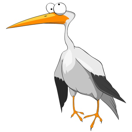 Cartoon Character Funny Stork Vector