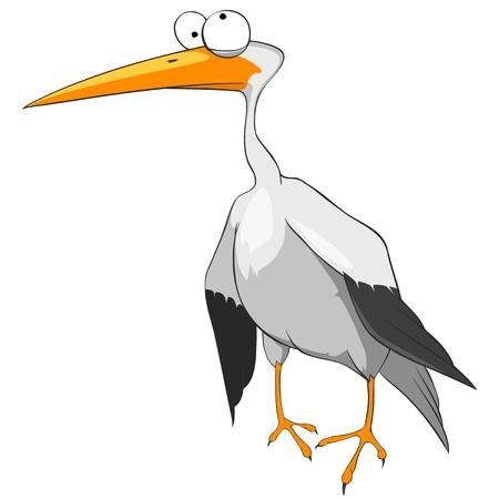 babyish animal: Cartoon Character Funny Stork Illustration