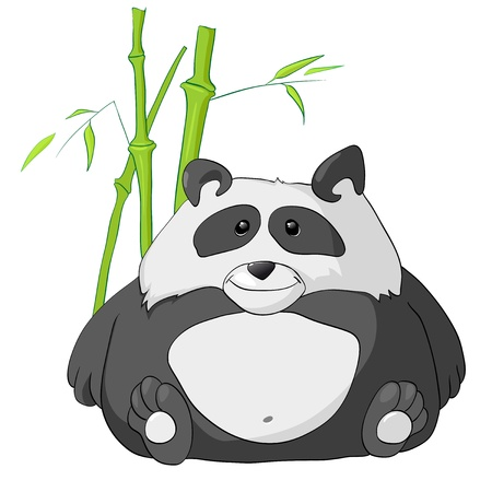 Cartoon Character Funny Panda Isolated on White Background.  Vector
