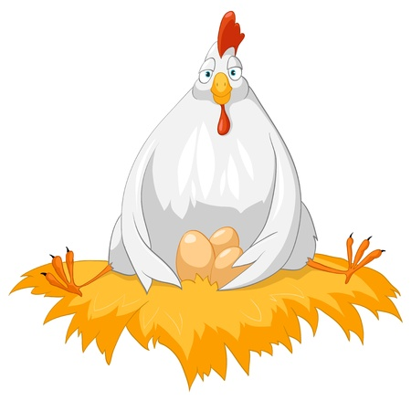 Cartoon Character Chicken Isolated on White Background.  Stock Vector - 10414482