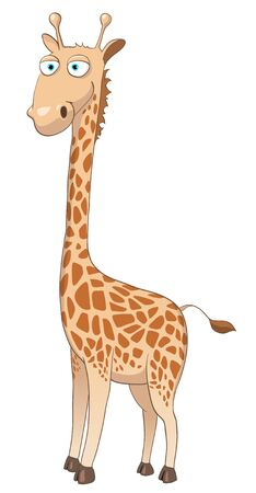 Cartoon Character Giraffe Isolated on White Background.