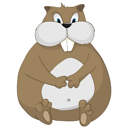 Cartoon Character Hamster Isolated on White Background.