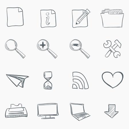 Schizzo Icon Set Vettoriali