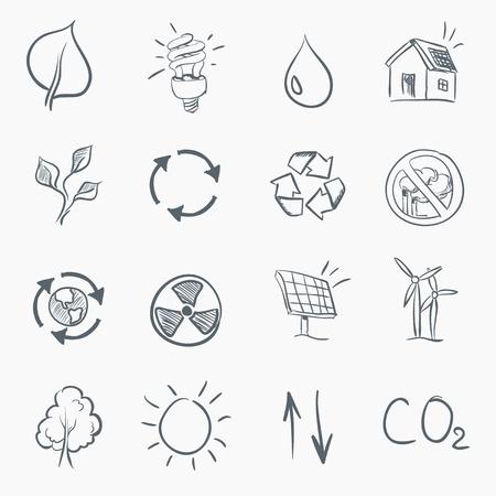 sun energy: Eco Skerch Icon Set