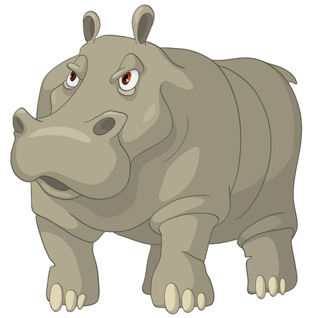 Cartoon Character Hippopotamus Иллюстрация