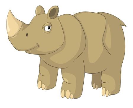 babyish animal: Cartoon Character Rhino Illustration