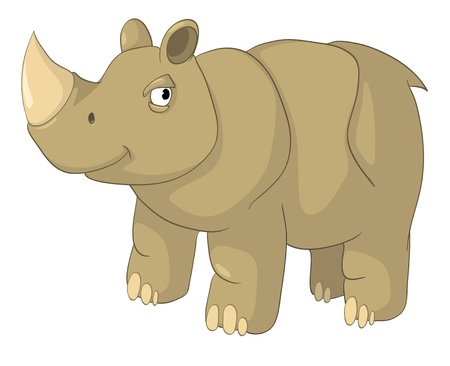 lovable: Cartoon Character Rhino Illustration