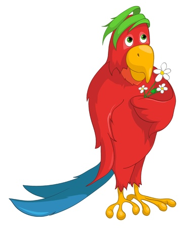 lovable: Cartoon Character Parrot Illustration