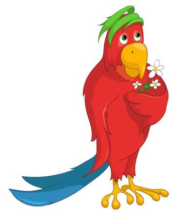 Cartoon Character Parrot Stock Illustratie