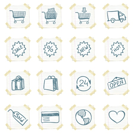 e store: Sticker Icon Set